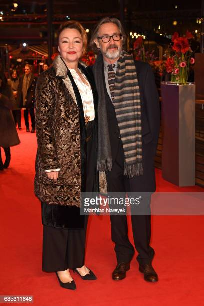 Actress Catherine Frot and Director Martin Provost attend the 'The Midwife' premiere during the 67th Berlinale International Film Festival Berlin at...