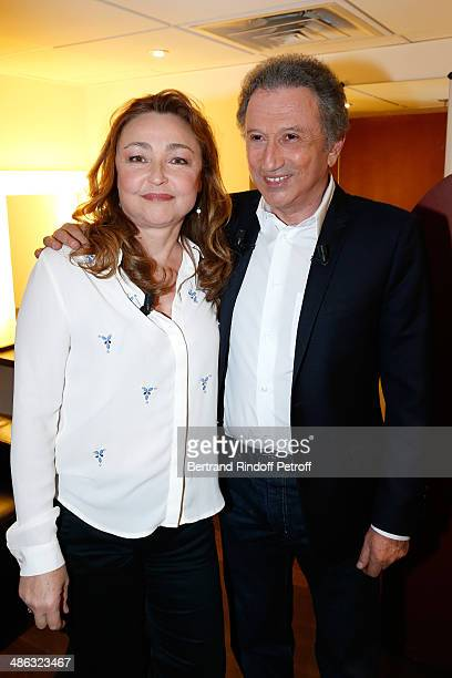 Actress Catherine Frot and presenter of the show Michel Drucker attend the 'Vivement Dimanche' French TV show Held at Pavillon Gabriel on April 23...