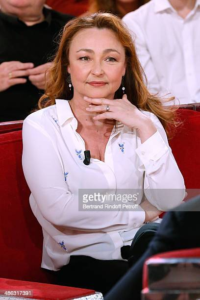 Actress Catherine Frot attend the 'Vivement Dimanche' French TV show Held at Pavillon Gabriel on April 23 2014 in Paris France