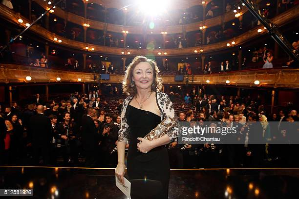 Actress Catherine Frot poses with her Cesar Award for the Best actress during the Cesar Film Award 2016 at Theatre du Chatelet on February 26 2016 in...