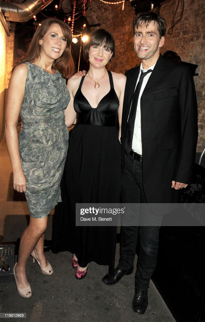 Actress <a gi-track='captionPersonalityLinkClicked' href=/galleries/search?phrase=Catherine+Tate&family=editorial&specificpeople=228589 ng-click='$event.stopPropagation()'>Catherine Tate</a>, director Josie Rourke and actor <a gi-track='captionPersonalityLinkClicked' href=/galleries/search?phrase=David+Tennant&family=editorial&specificpeople=220227 ng-click='$event.stopPropagation()'>David Tennant</a> attend an after party celebrating press night of the new west end production of Much Ado About Nothing at The Foundation Bar on June 1, 2011 in London, England.