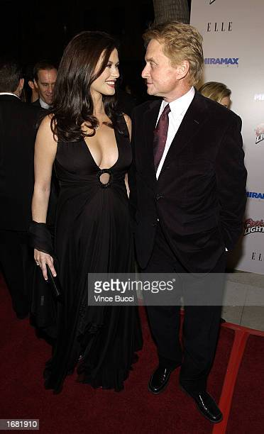 Actress Catherine Zeta Jones who is pregnant and husband actor Michael Douglas attend the Los Angeles screening of the film 'Chicago' on December 10...