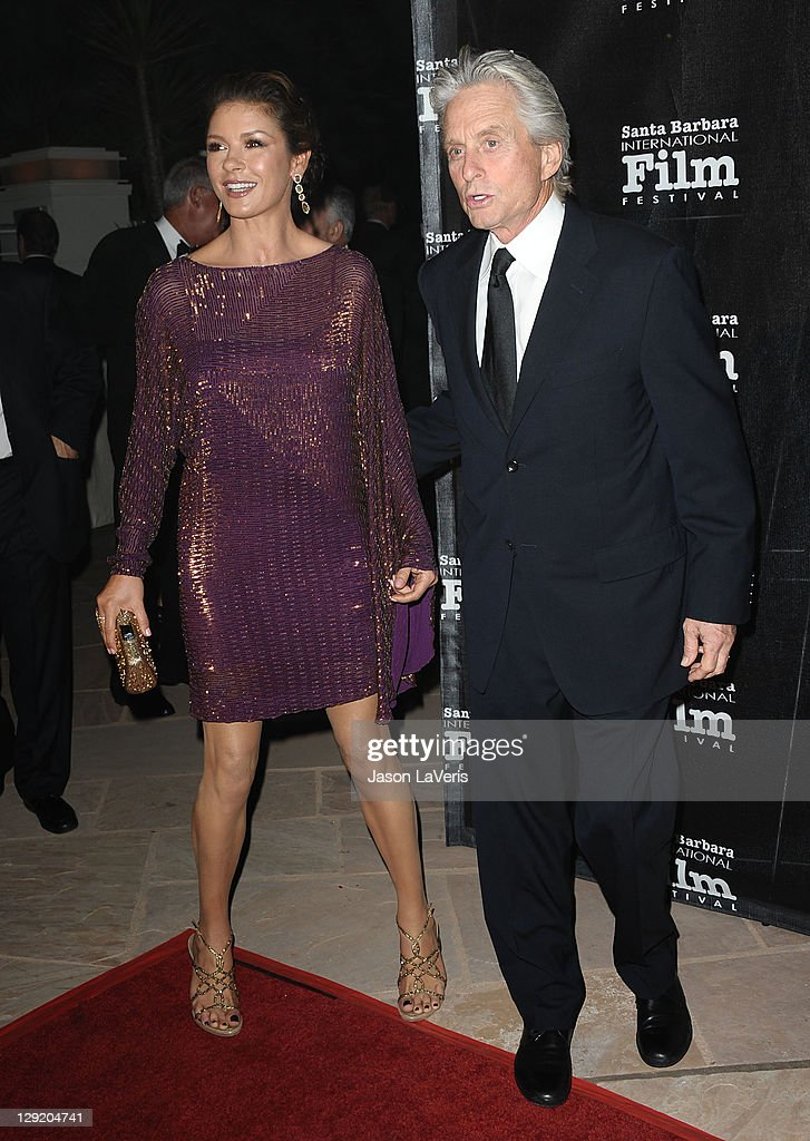 Actress Catherine Zeta-Jones and actor <a gi-track='captionPersonalityLinkClicked' href=/galleries/search?phrase=Michael+Douglas&family=editorial&specificpeople=171111 ng-click='$event.stopPropagation()'>Michael Douglas</a> attend Santa Barbara International Film Festival's 6th annual Kirk Douglas Award for Excellence in Film gala at The Four Seasons Biltmore on October 13, 2011 in Santa Barbara, California.