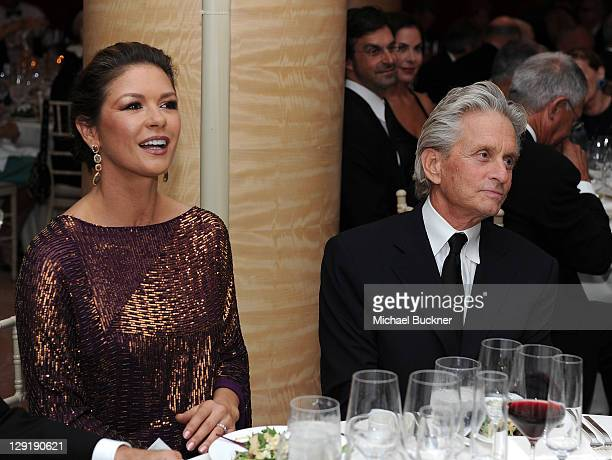 Actress Catherine ZetaJones and actor Michael Douglas attend SBIFF's 2011 Kirk Douglas Award for Excellence In Film honoring Michael Douglas at the...