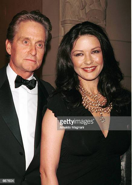 Actress Catherine ZetaJones and her fiance actor Michael Douglas pose at The Fashion Group International's presentation of 'Night of Stars 2000'...