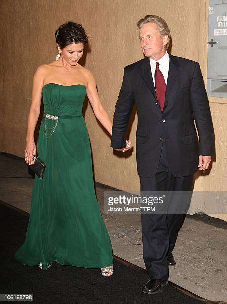 Actress Catherine ZetaJones and husband Michael Douglas arrive for the third annual 'A Fine Romance' an evening of celebrity performances honoring...