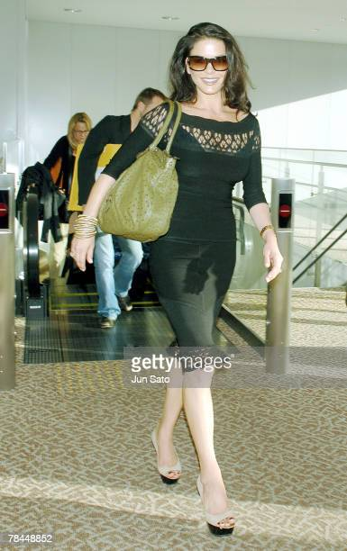 Actress Catherine ZetaJones arrives at Narita International Airport for promoting her film 'No Reservations' in Japan