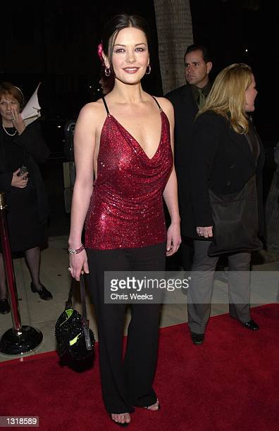 Actress Catherine ZetaJones arrives at the premiere of USA Films'' 'Traffic' at the Academy of Motion Pictures Arts and Sciences Theatre December 14...