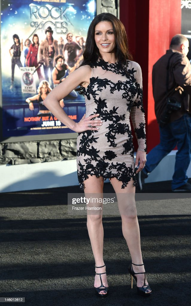 Actress <a gi-track='captionPersonalityLinkClicked' href=/galleries/search?phrase=Catherine+Zeta-Jones&family=editorial&specificpeople=167111 ng-click='$event.stopPropagation()'>Catherine Zeta-Jones</a> arrives at the premiere of Warner Bros. Pictures' 'Rock of Ages' at Grauman's Chinese Theatre on June 8, 2012 in Hollywood, California.