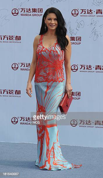 Actress Catherine ZetaJones attends a launching ceremony for the Qingdao Oriental Movie Metropolis on September 22 2013 in Qingdao China