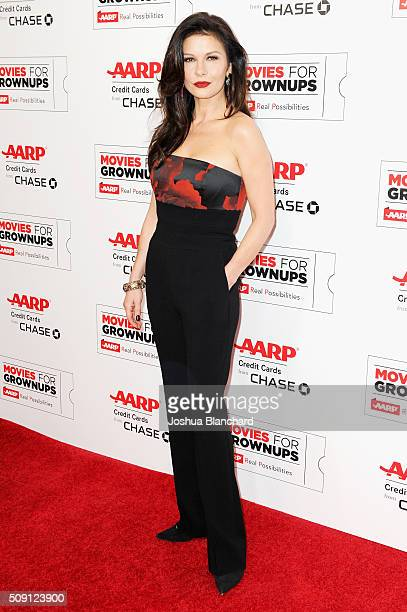 Actress Catherine ZetaJones attends AARP's 15th Annual Movies For Grownups Awards at the Beverly Wilshire Four Seasons Hotel on February 8 2016 in...