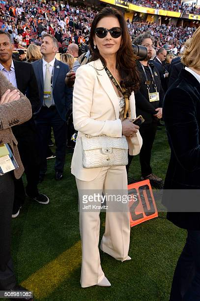 Actress Catherine ZetaJones attends Super Bowl 50 at Levi's Stadium on February 7 2016 in Santa Clara California