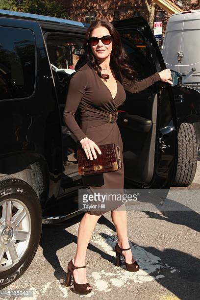 Actress Catherine ZetaJones attends the Michael Kors Spring 2013 MercedesBenz Fashion Week Show at The Theatre Lincoln Center on September 12 2012 in...