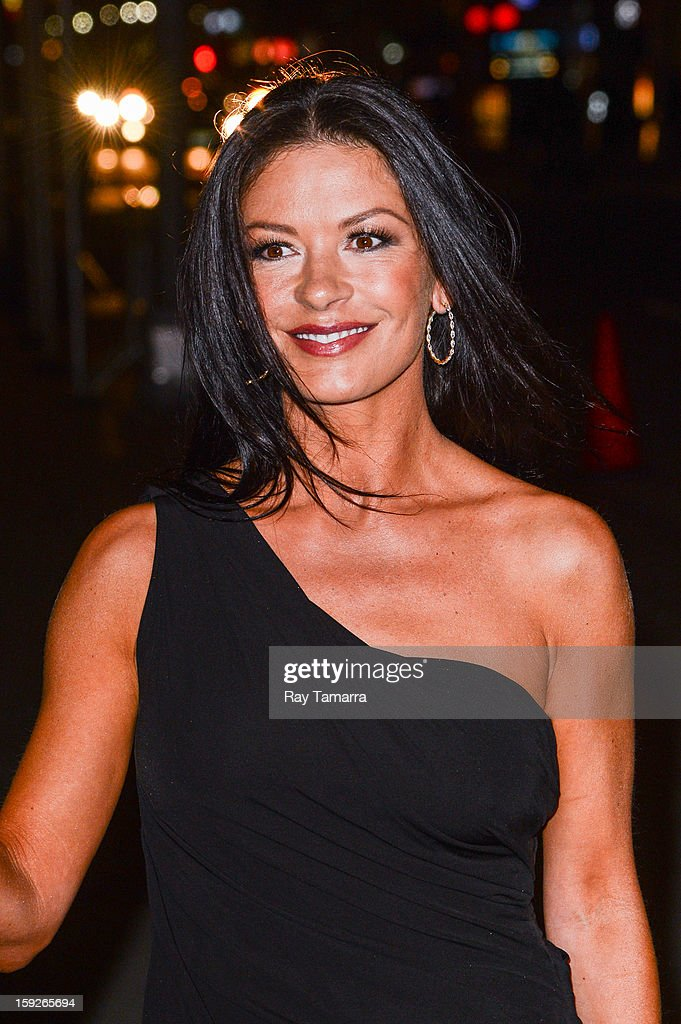 Actress Catherine Zeta-Jones enters the 'Late Show With David Letterman' taping at the Ed Sullivan Theater on January 10, 2013 in New York City.