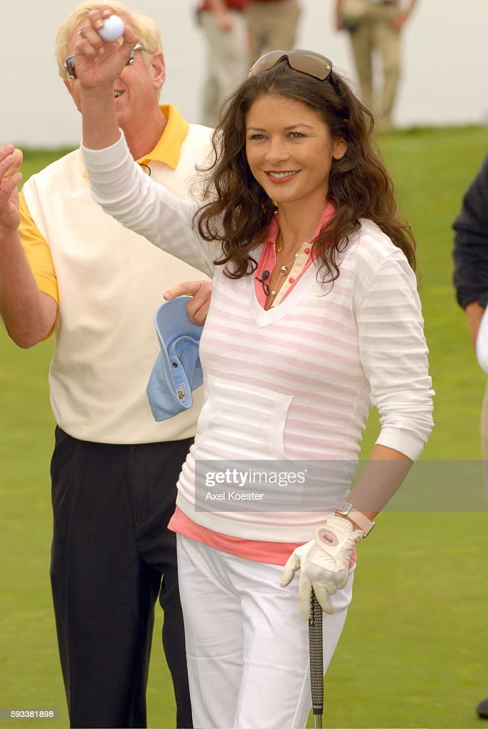 Actress Catherine ZetaJones plays at the Ninth Annual Michael Douglas Friends Celebrity Golf Tournament at the Trump National Golf Club in Rancho...