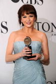Actress Catherine ZetaJones poses with her award at the 64th Annual Tony Awards at The Sports Club/LA on June 13 2010 in New York City