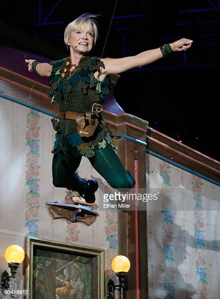 Actress Cathy Rigby as the character Peter Pan performs during the 44th annual Labor Day Telethon to benefit the Muscular Dystrophy Association at...