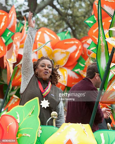 Actress CCH Pounder rides in the 2015 Krewe of Orpheus Parade on February 16 2015 in New Orleans Louisiana
