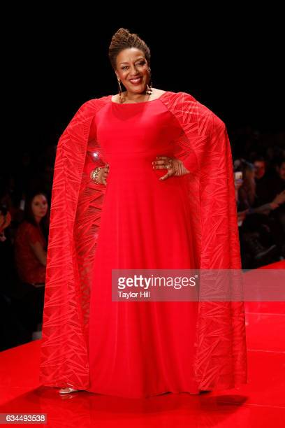 Actress CCH Pounder walks the runway during the 'Go Red for Women' fashion show during Fall 2017 New York Fashion Week at Hammerstein Ballroom on...