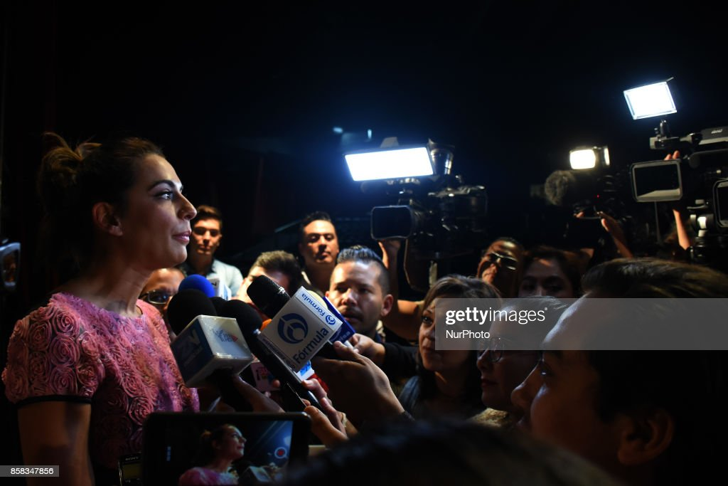 Actress Cecilia Galeano is seen attending a press conference to promote The theater play Snow White and the Seven Dwarfs on October 06, 2017 in Mexico City, Mexico