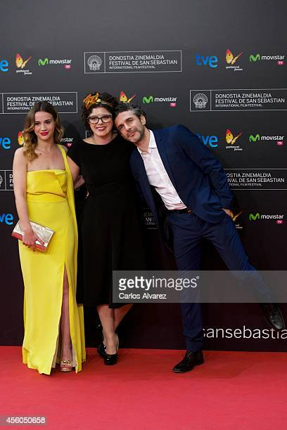 Actress Celeste Cid director Anahi Berneri and actor Leonardo Sbaraglia attend the 'Aire Libre' premiere at the Kursaal Palace during the 65nd San...
