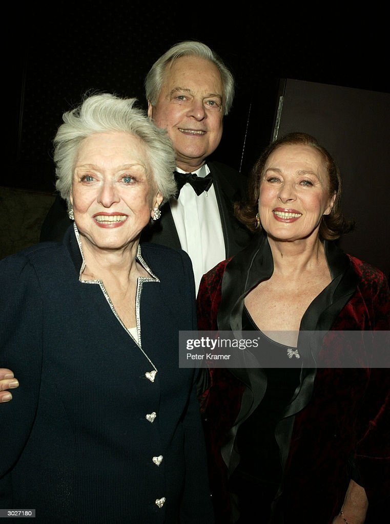 Actress Celeste Holm, author Robert Osborne and actress Rita Gam attend the AMPAS Official Oscar Night Celebration at Le Cirque February 29, 2004 in New York City.