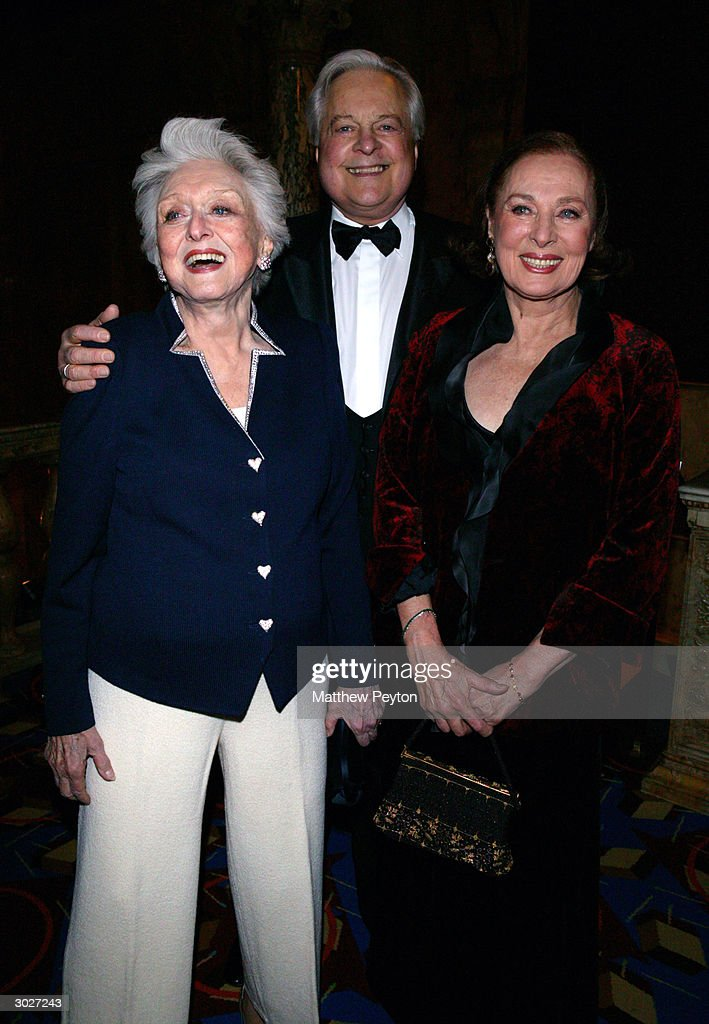Actress Celeste Holm, NY Oscar Night Host Robert Osborne and actress Rita Gam attend the The Academy of Motion Picture Arts and Sciences New York Oscar Night Party at the restaurant Le Cirque 2000 on February 29, 2004 in New York City.