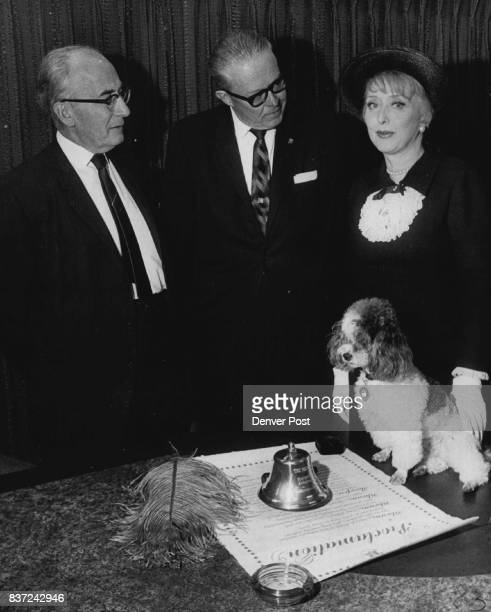 Actress Celeste Holm Presented Desk Bell To Mayor McNichols With the mayor was Probate Judge David Brofman left a director of the National...