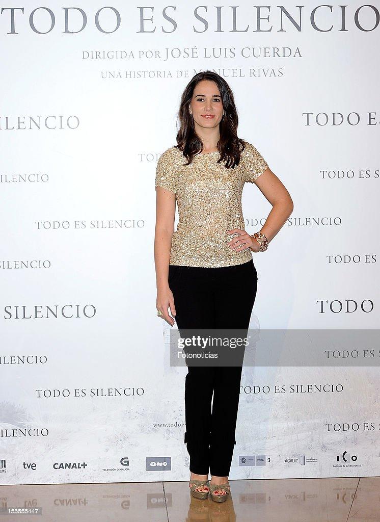 Actress Celia Freijeiro attends a photocall for 'Todo Es Silencio' at the Palafox cinema on November 5, 2012 in Madrid, Spain.
