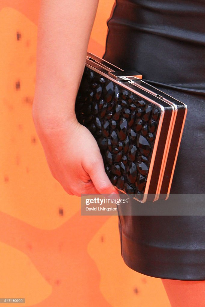 Actress Celina Martin purse detail arrives at the Nickelodeon Kids' Choice Sports Awards 2016 at the UCLA's Pauley Pavilion on July 14 2016 in...