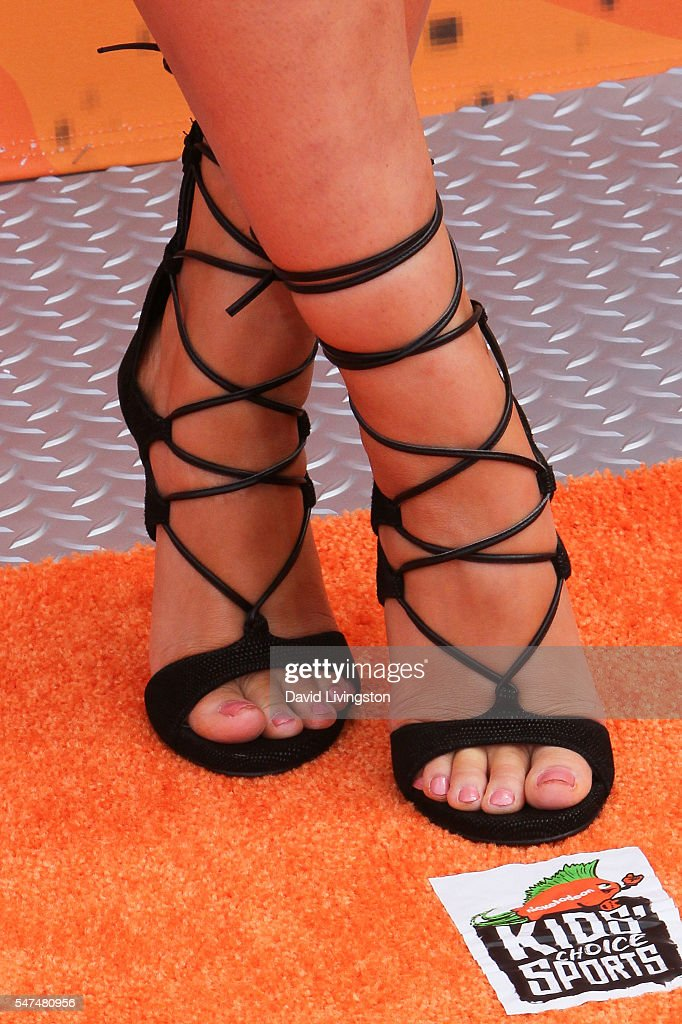 Actress Celina Martin shoe detail arrives at the Nickelodeon Kids' Choice Sports Awards 2016 at the UCLA's Pauley Pavilion on July 14 2016 in...