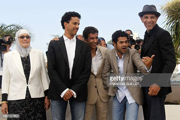 Actress Chafia Boudraa French actor Sami Bouajila French director Rachid Bouchareb French actor Jamel Debbouze and French actor Roschdy Zem pose...