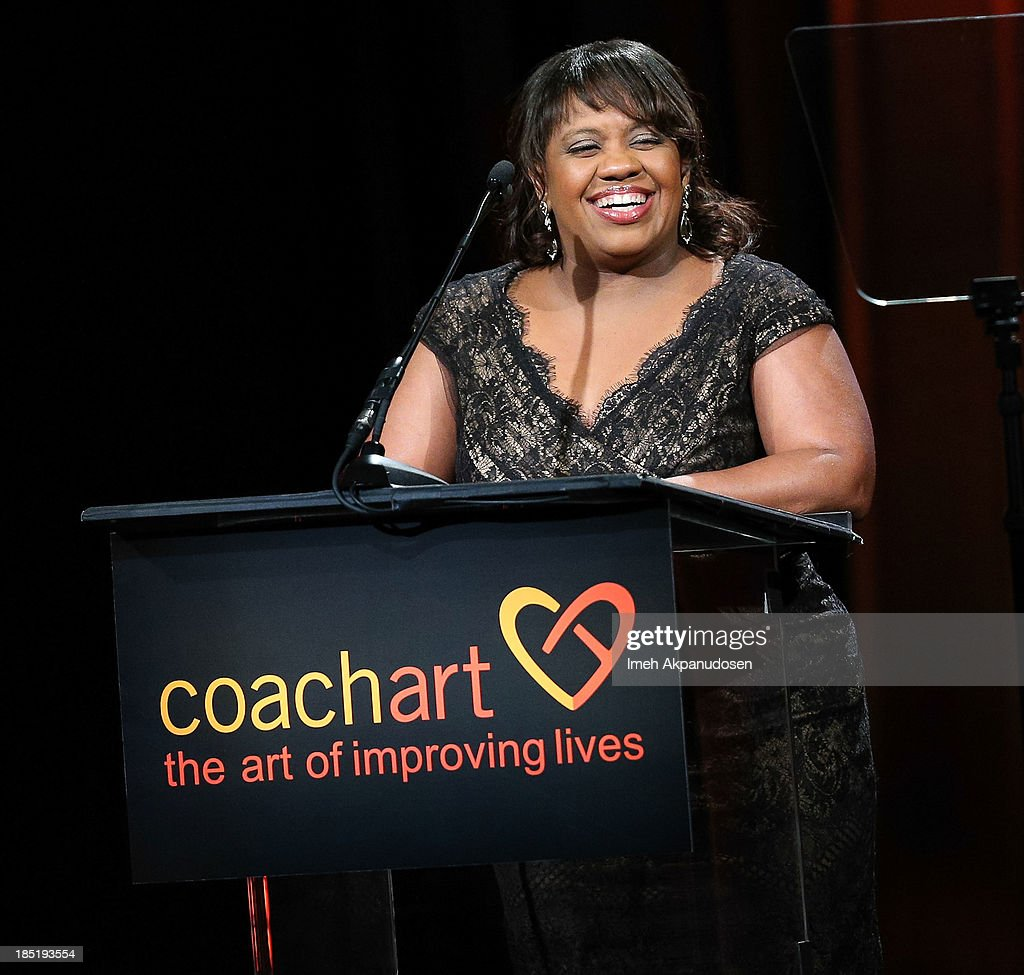 Actress Chandra Wilson speaks onstage during CoachArt's 9th Annual 'Gala Of Champions' at The Beverly Hilton Hotel on October 17, 2013 in Beverly Hills, California.