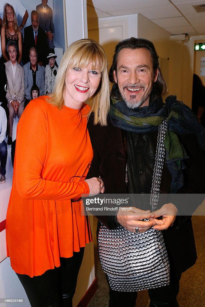 Actress Chantal Ladesou and singer Florent Pagny attend the 'Vivement Dimanche' French TV show Held at Pavillon Gabriel on April 23 2014 in Paris...