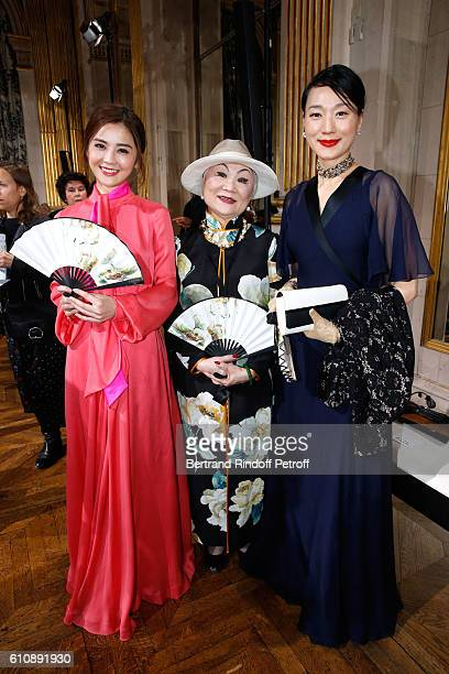 Actress Charlene Choi Owner of Lanvin Shaw Lan Wang and Guest attend the Lanvin show as part of the Paris Fashion Week Womenswear Spring/Summer 2017...
