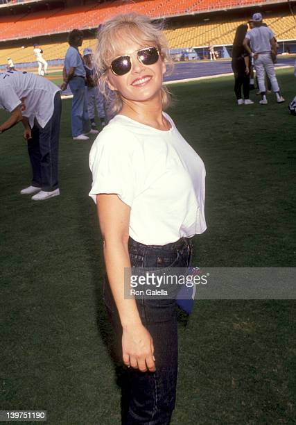 Actress Charlene Tilton attend the 33rd Annual 'Hollywood Stars Night' Celebrity Baseball Game on August 17 1991 at Dodger Stadium in Los Angeles...