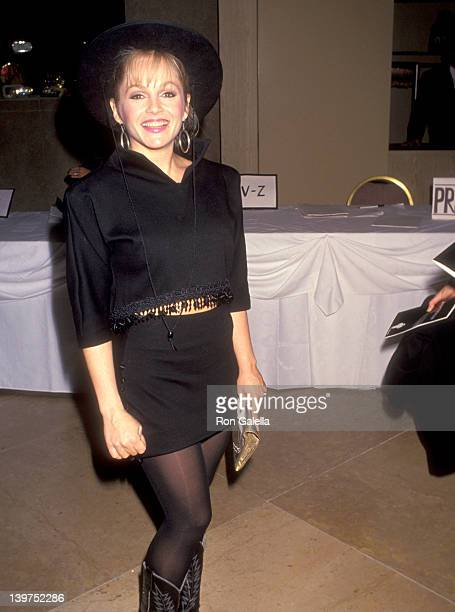 Actress Charlene Tilton attends the John Wayne Cancer Institute Auxiliary 1991 Odyssey Ball Honoring Larry Hagman on April 6 1991 at Beverly Hilton...