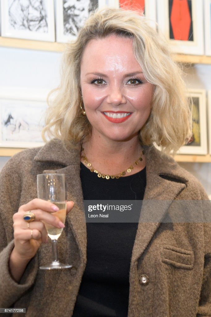 Actress Charlie Brooks stands with some of the anonymously decorated postcards as they are displayed at a preview for the 'Art on a Postcard' event ahead of the upcoming secret auction, on November 14, 2017 in London, England. The auction will take place on 16 November and will raise money for the Hepatitis C Trust. Artists who have contributed work include Peter Blake and Bob & Roberta Smith.