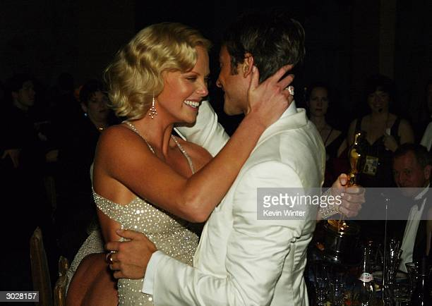 Actress Charlize Theron and Actor Stuart Townsend dance at the The Governors Ball after the 76th Annual Academy Awards at the Renaissance Hollywood...
