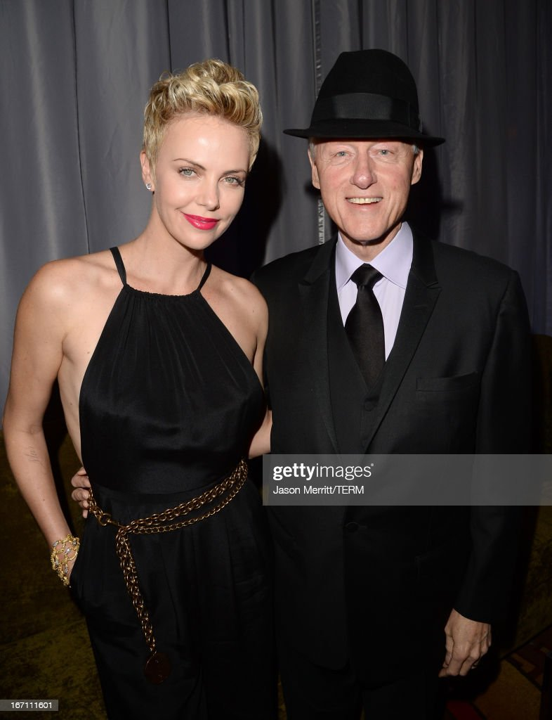 Actress <a gi-track='captionPersonalityLinkClicked' href=/galleries/search?phrase=Charlize+Theron&family=editorial&specificpeople=171250 ng-click='$event.stopPropagation()'>Charlize Theron</a> (L) and former President of the United States <a gi-track='captionPersonalityLinkClicked' href=/galleries/search?phrase=Bill+Clinton&family=editorial&specificpeople=67203 ng-click='$event.stopPropagation()'>Bill Clinton</a> attend the 24th Annual GLAAD Media Awards at JW Marriott Los Angeles at L.A. LIVE on April 20, 2013 in Los Angeles, California.