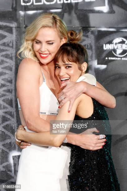 US actress Charlize Theron and US actress Sofia Boutella attends the 'Atomic Blonde' World Premiere at Stage Theater on July 17 2017 in Berlin Germany