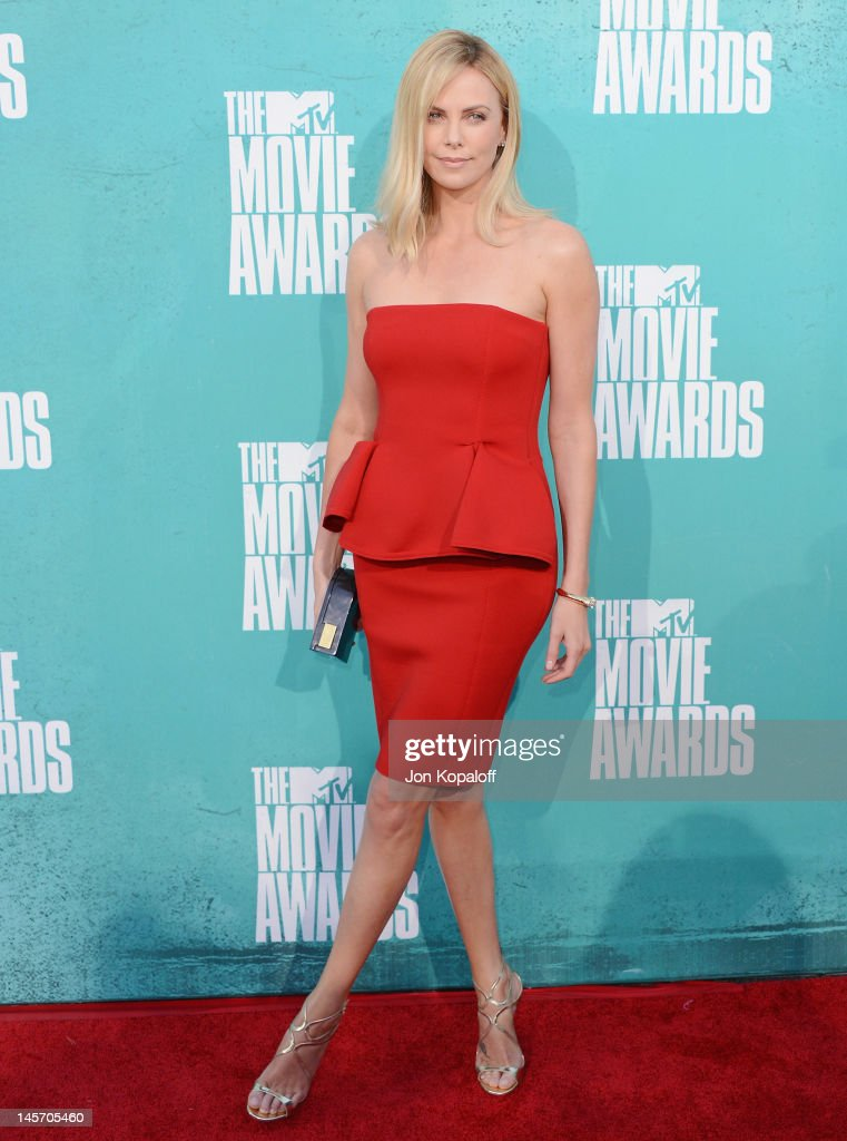 Actress Charlize Theron arrives at the 2012 MTV Movie Awards at Gibson Amphitheatre on June 3 2012 in Universal City California
