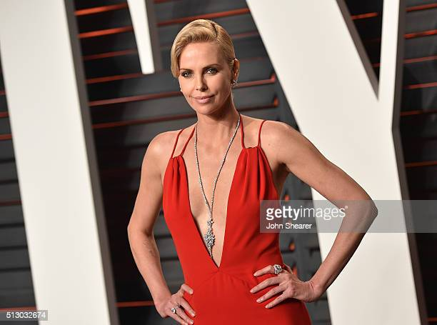 Actress Charlize Theron arrives at the 2016 Vanity Fair Oscar Party Hosted By Graydon Carter at Wallis Annenberg Center for the Performing Arts on...