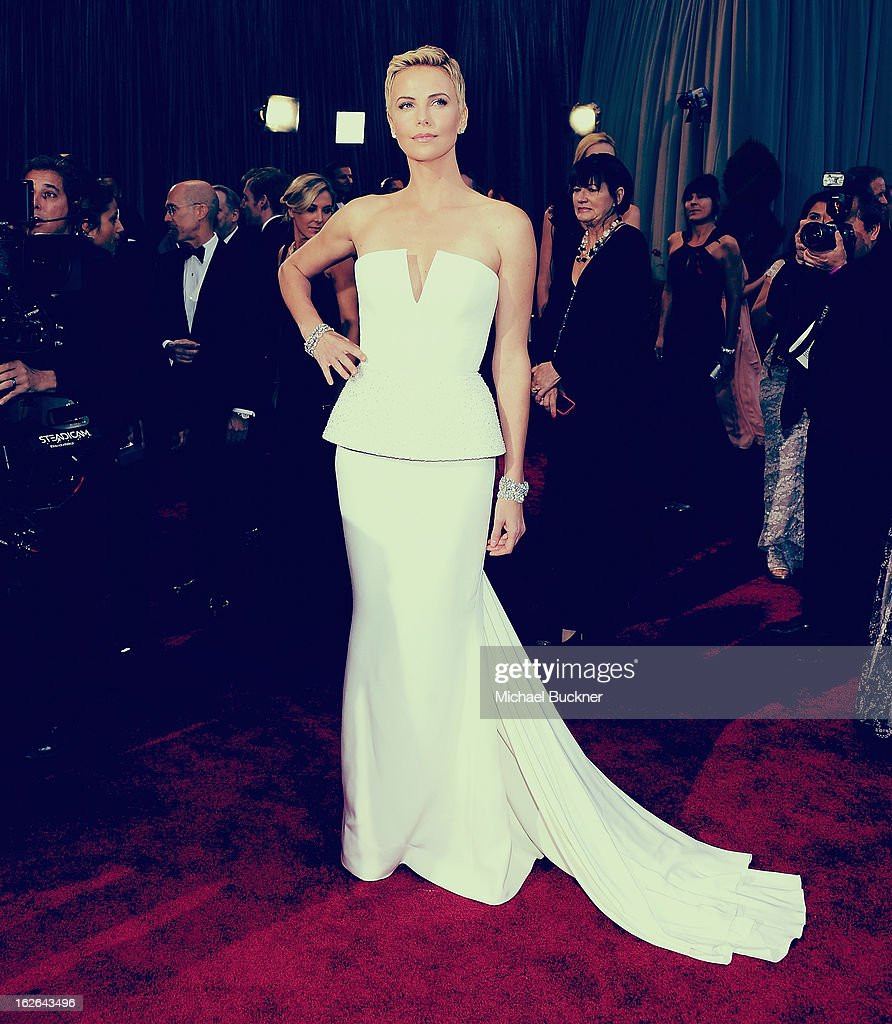 Actress Charlize Theron arrives at the 85th Annual Academy Awards at the Hollywood & Highland Center on February 24, 2013 in Hollywood, California.