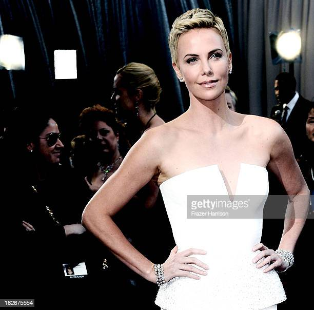 Actress Charlize Theron arrives at the 85th Annual Academy Awards at Hollywood Highland Center on February 24 2013 in Hollywood California