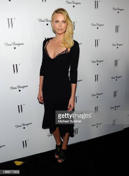 Actress Charlize Theron arrives at W Magazine And Dom Perignon Celebrate It's Best Performances Issue And The Golden Globe Awards at the Chateau...