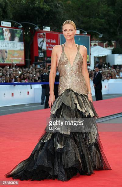Actress Charlize Theron attend the In The Valley Of Elah premiere in Venice during day 4 of the 64th Venice Film Festival on September 1 2007 in...