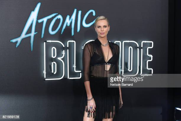 Actress Charlize Theron attends Focus Features' 'Atomic Blonde' premiere at The Theatre at Ace Hotel on July 24 2017 in Los Angeles California