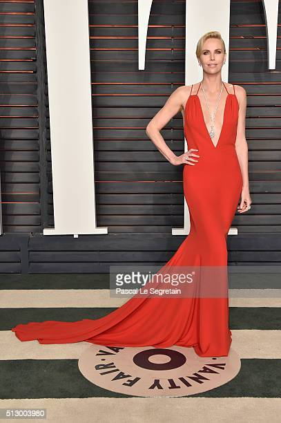 Actress Charlize Theron attends the 2016 Vanity Fair Oscar Party Hosted By Graydon Carter at the Wallis Annenberg Center for the Performing Arts on...