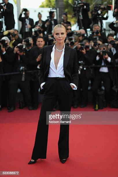 Actress Charlize Theron attends 'The Last Face' Premiere during the 69th annual Cannes Film Festival at the Palais des Festivals on May 20 2016 in...